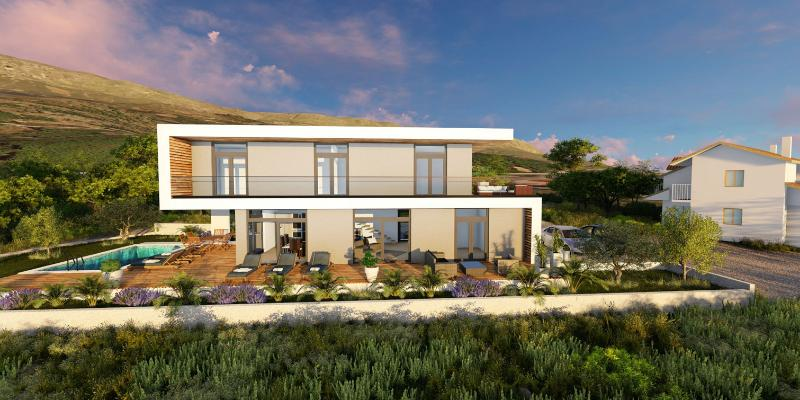 Building plot with sea views and project idea for modern villa